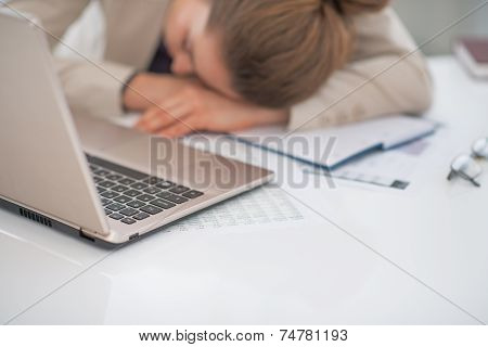 Closeup On Business Woman Sleeping At Desk
