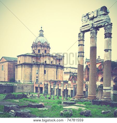 Ruins of the roman forum, Rome, Italy. Instagram style filtred image