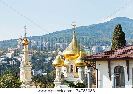 Alexander Nevski Cathedral And Yalta City Skyline