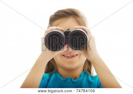 Happy little girl with binoculars
