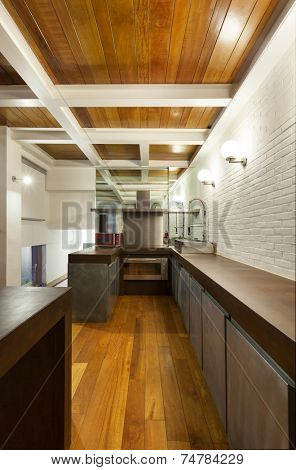 Architecture, wide loft , domestic kitchen view