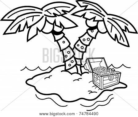 Cartoon island with palm trees and a treasure chest.