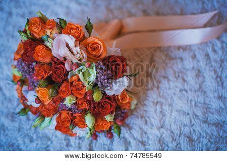flower wedding bouquet for bride on white background