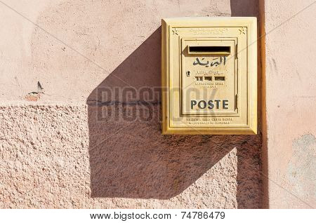 Yellow Letter Box Of Moroccan Post