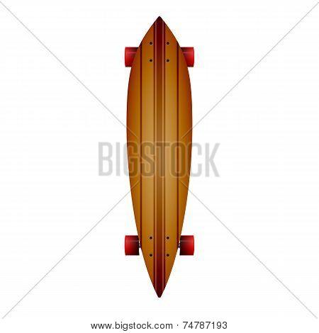 Vector illustration of wooden longboard