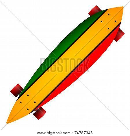 Vector illustration of three color longboard