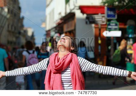 Happy Beautiful Girl On Montmartre In Paris