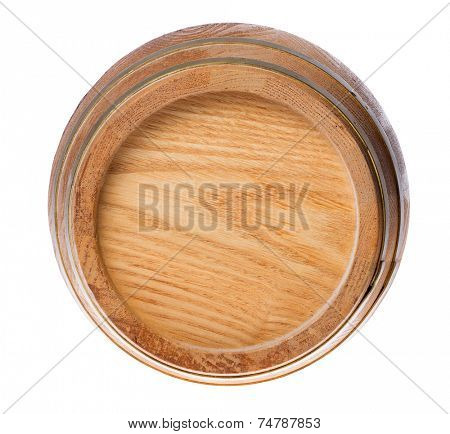 single wood cask isolated on white background