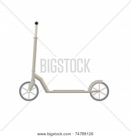Flat vector illustration of gray Kick Scooter