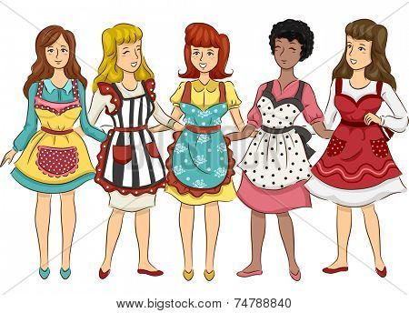 Illustration Featuring a Group of Women Wearing Aprons with Retro Designs
