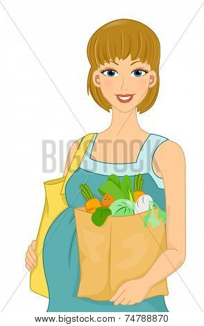 Illustration Featuring a Pregnant Woman Carrying Groceries