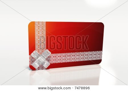 Present With White Lace Ribbon And Red Gift Card