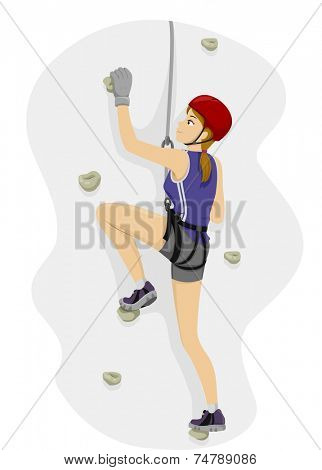 Illustration Featuring a Girl Rock Climbing