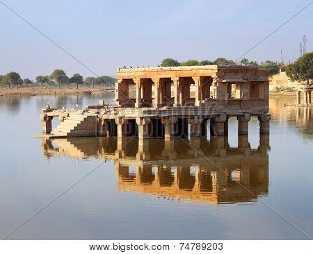 old palace on lake ruins in Jaisalmer India