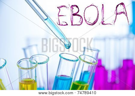Laboratory examination of Ebola with bloody text sign