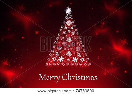 Red Christmas Background With Christmas Tree,