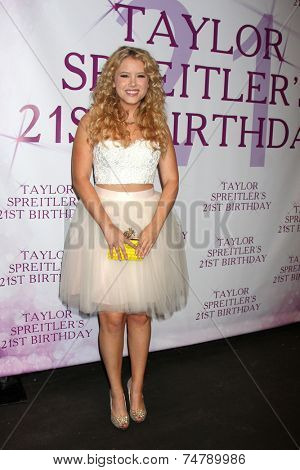LOS ANGELES - OCT 25:  Taylor Spreitler at the Taylor Spreitler's 21st Birthday Party at the CBS Radford Studios on October 25, 2014 in Studio City, CA