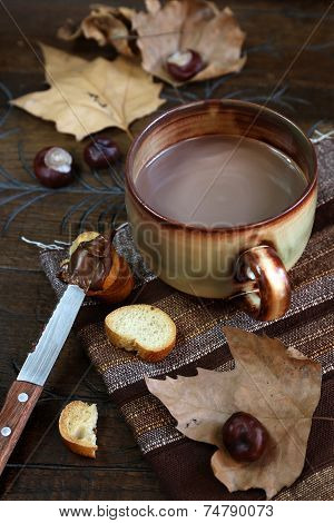 Autumn Still Life: Chestnuts, Cocoa And Chocolate Spread On A Slice Of Baguette