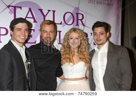 LOS ANGELES - OCT 25:  Matthew Larwrence, Joey Lawrence, Taylor Spreitler, Andrew Lawrence at the Taylor Spreitler's 21st Birthday Party at Radford Studios on October 25, 2014 in Studio City, CA