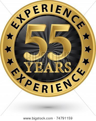 55 Years Experience Gold Label, Vector Illustration