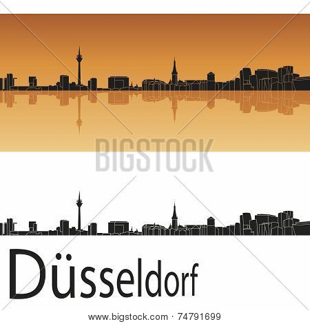 Düsseldorf Skyline In Orange Background