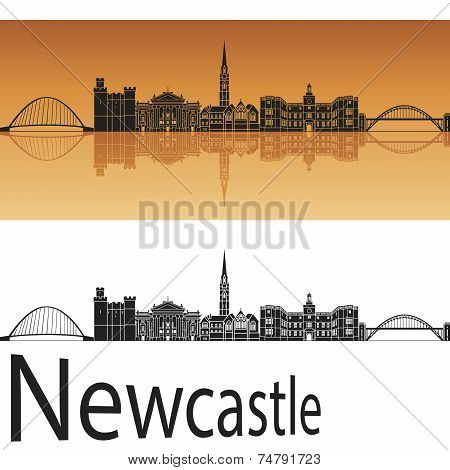 Newcastle Skyline In Orange Background