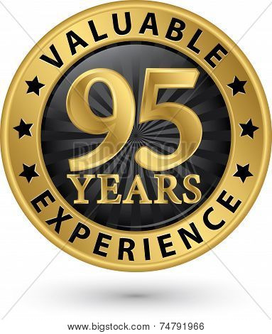 95 Years Valuable Experience Gold Label, Vector Illustration
