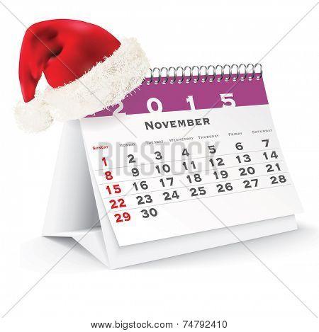 November 2015 desk calendar with Christmas hat - vector illustration