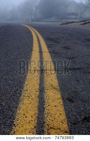 Double yellow stripe on road