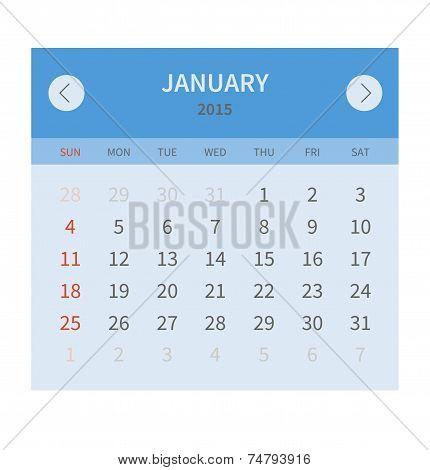 Calendar monthly january 2015 in flat design