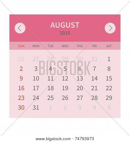 Calendar monthly august 2015 in flat design