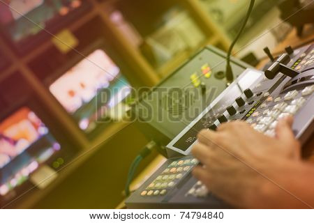 Video mixing panel in a television studio