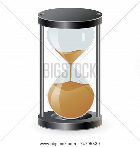 True transparent sand hourglass