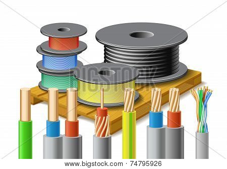 Different Kinds Of Cables Are On Wooden Pallet.