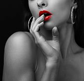 pic of  lips  - Sexy young woman touching the sexual red lips the fingers - JPG
