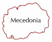 picture of former yugoslavia  - Outline map of Macedonia over a white background - JPG