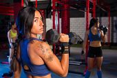 image of barbell  - Gym women with hex barbell workout exercise - JPG