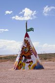 picture of tipi  - Colored tipi or teepee with designs in the fields of  Arizona - JPG