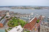 image of christopher columbus  - Aerial view of Boston Harbor - JPG