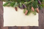 image of pine cone  - Traditional Christmas Background with Pine  Branch and Pine Cones - JPG