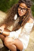 picture of hippy  - Beautiful hippie girl with black glasses - JPG