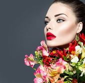 picture of woman glamorous  - High fashion model girl with colorful flowers and red lips - JPG