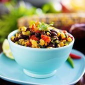 stock photo of poblano  - mexican fire roasted corn and black bean salsa - JPG