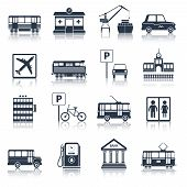 foto of tram  - City infrastructure icons black set with tram pharmacy port taxi isolated vector illustration - JPG