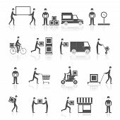 stock photo of cart  - Delivery person with parcel box cart motorbike icons black set isolated vector illustration - JPG
