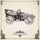 picture of christmas claus  - Christmas card vector with Santa Claus driving an old car full of gifts - JPG