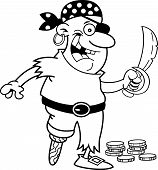 foto of peg-leg  - Black and white illustration of a smiling pirate with a peg leg holding a sword - JPG