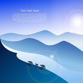 stock photo of arctic landscape  - Arctic landscape with three polar bears - JPG