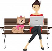 image of pre-adolescent girl  - Illustration Featuring a Girl Using a Laptop in a Dog Park While Her Dog Sits Beside Her - JPG