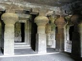 pic of ellora  - Buddhist ancient cave monastery. Hall with columns and sculptures.  - JPG